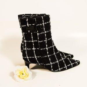 Newport News Knit Plaid Kitten Heel Ankle Booties